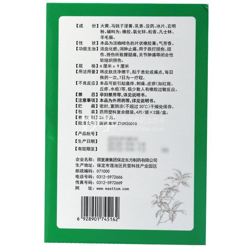 东乐 东乐膏  6cm*9cm*4片*2袋