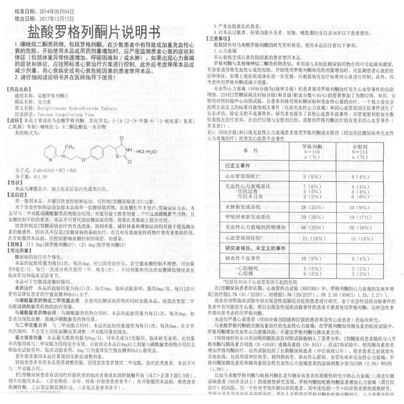 宜力喜 盐酸罗格列酮片 4mg*7片/盒